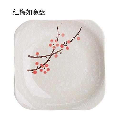 LXLN Vajilla de cerámica Blanca Marfil,Plato de cerámica con Flor de Ciruela, HOU,Plato Redondo de cerámica para el hogar