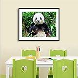 EUpMB Kits de Pintura de Diamantes para Bricolaje,Cross-Stitch Kit Diamond Painting, Bordado Completo de Diamantes artesanales,5D Diamante Pintura Lindo Panda Comiendo bambú,40x50cm