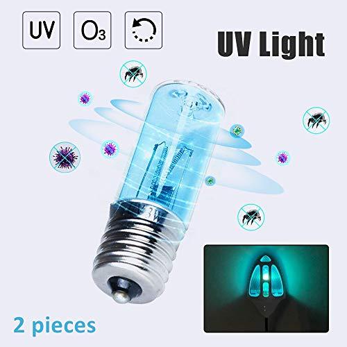 Bonlux E17 UV Lampe Sterilisator Glühbirne 3W AC/DC9.5-13V UVC Ersatzlampe Sterilisieren Keimtötende Quarz Lampe Mikrowelle Kühlschrank (2 Stück )