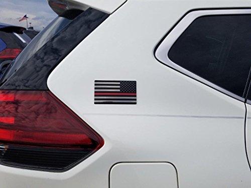 EyeCatcher USA Flag Red Line Firefighter Emblem Decal - 2 Pack
