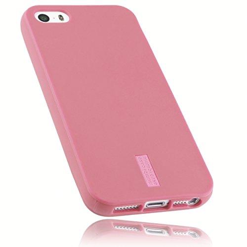 mumbi Hülle kompatibel mit iPhone SE (2016) / 5 / 5S Handy Case Handyhülle, pink mit rosanem Streifen