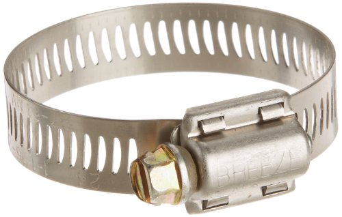 Breeze Power-Seal Stainless Steel Hose Clamp, Worm-Drive, SAE Size 24, 1-1/16' to 2' Diameter Range, 1/2' Bandwidth (Pack of 10)