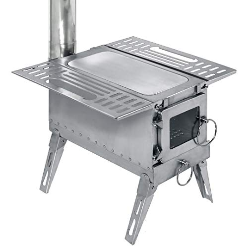 DACHEL Outdoor Tent Wood Stove with Pipe (Stainless Steel Cube Stove, 151518/88inch)