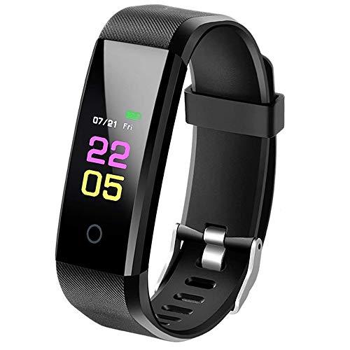 SmartBand - Pulsera de actividad con medición de la presión arterial, reloj inteligente de fitness con pulsómetro, resistente al agua IP67, reloj de fitness, pulsómetro, podómetro, reloj, calorías