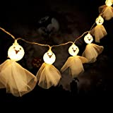 Halloween Ghost String Lights with 20 LED Lace Ghost Wall Decor Battery Operated Fairy String Lights for Halloween Party Indoor Outdoor Hanging Lights Decorations (Warm White Light)