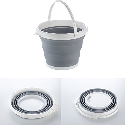 I-Choice Portable Folding Collapsible Water Bucket for Fishing, Camping, Car Washing, Home Storage and Outdoors Wash Pail Water Container 2.65 Gallon Grey