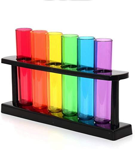 CKB LTD - Bar Amigos - Set di bicchieri per liquore a forma di fiale da laboratorio, in plastica, con supporto, colori: lilla/blu/verde/giallo/arancio