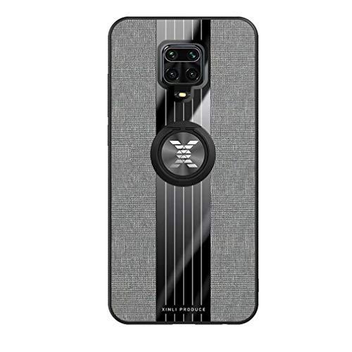 Ttimao Kompatibel mit Xiaomi Redmi Note 9S/9 Pro/9 Pro Max Hülle 360 ° Drehringständer Ultra Dünn Stoff strukturiertes Muster Schutzhülle+1*Displayschutzfolie Anti-Kratz Handyhülle-Grau
