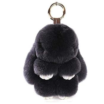 Kerocy Real Fur Lazy Play Dead Rabbits Plush Doll Key Backpack Cellphone Car Pendant Ornaments  Grey