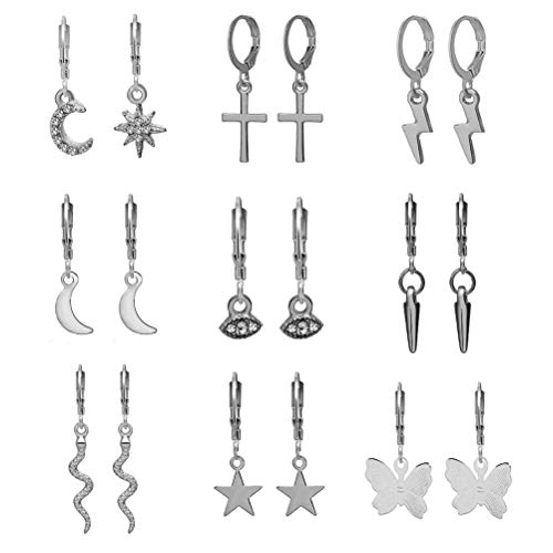 OUTEYE Hoop Earrings Set for Women Girls 9 Pairs, Butterfly Star Hoop Earrings with Dangle Charms