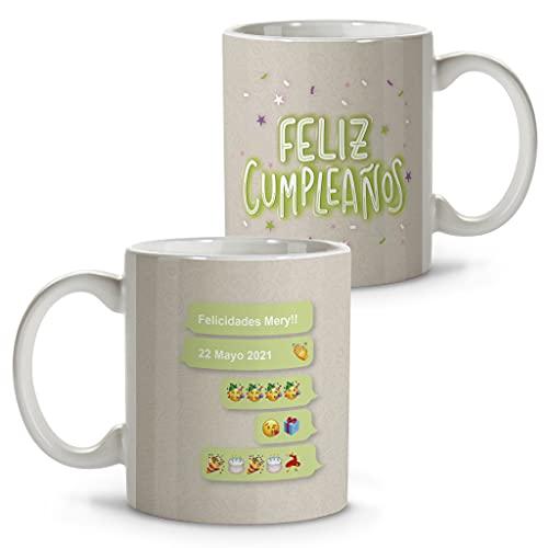 LolaPix Taza felicidades. Tazas Personalizadas. Tazas Desayuno Originales. Varios diseños. CUMPLEAÑOS Whatsapp
