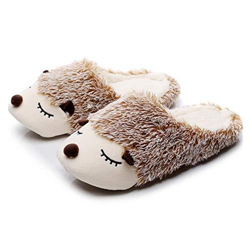 Zapatillas Otoño Invierno Dibujos Animados Animales Inicio Algodón Zapatillas Cálidas Mujeres Piso de Interior Zapatos Planos Chicas (Color: Perro Blanco, Zapato Tamaño: 5) TINGG