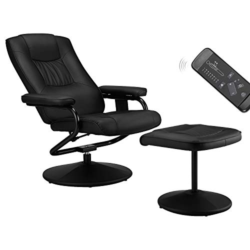 Esright Recliner Chair and Ottoman, 360 Degrees Swivel Ergonomic Faux Leather Lounge Recliner with Footrest, Vibration Massage Lounge Chair with Side Pocket, Black