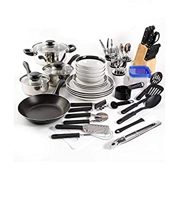 Large Kitchen Combo Set. This 83 piece kitshen starter set has everything you need. Stainless steel cookware, dinnerware, flatware, storage containers and gadgets for stirring, flipping and chopping. by Gibson Home