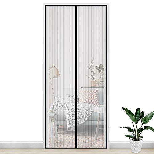 Gimars Cortina mosquitera doble magnetica puerta exterior sin tornillos, Mosquitera puerta corredera lateral con iman para terraza/habitacion Fácil de instalar (120 * 240 Negro)