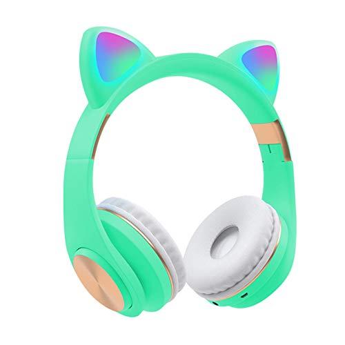 Etiger Auriculares inalámbricos Bluetooth 5.0 Auriculares con Oreja de Gato con micrófono 7 Colores Luz LED Parpadeante Brillante Plegable Estéreo para Juegos Teléfono PC Tableta para niñas Niños