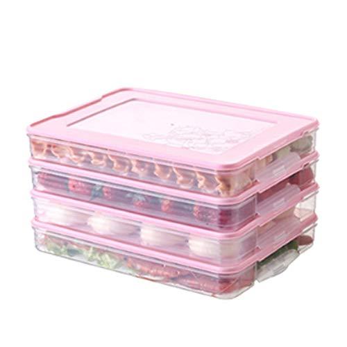 qwert Refrigerador Caja de Almacenamiento de Alimentos Organizador Caja Fresca Dumplings Soporte de Huevo Vegetal Accesorios de Cocina apilables, 4 Piezas 1 Tapa Rosa