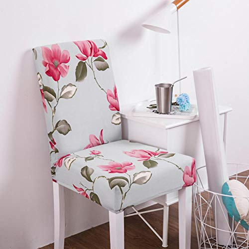 Fundas para sillas Flor Azul Claro Spandex Fundas sillas Comedor Lavable Extraíble Funda Muy fácil de Limpiar Duradera Modern Bouquet de la Boda Hotel Decor Restaurante 6/Piezas