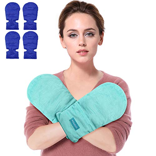 Microwavable Heated Mittens, Hot and Cold Hand Therapy Gloves, Heat Arthritis Gloves for Hands Warmer Therapy and Trigger Fingers Pain Relief & Carpal Tunnel Fit for Many Hand Sizes (Light Blue)