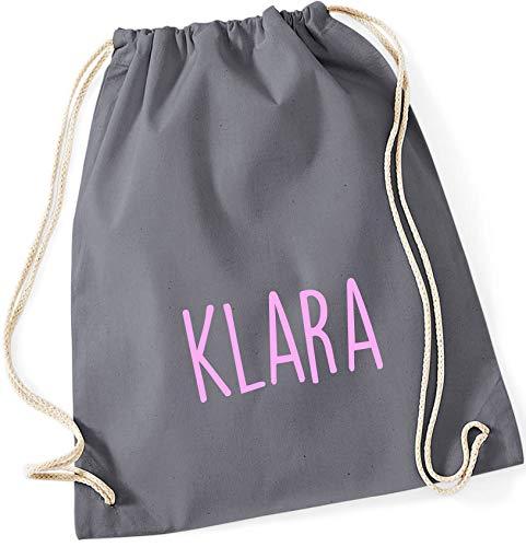 personalisierter Turnbeutel mit Namensdruck zum Zuziehen   Bedruckt mit Namen für Jungen & Mädchen   Zuziehbeutel Stoffbeutel in vielen Farben (grau)
