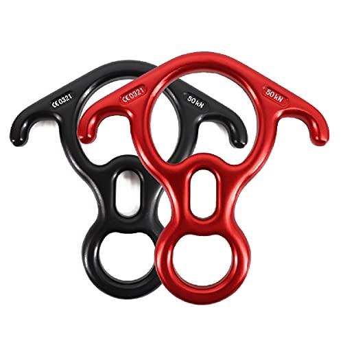 TRIWONDER 50KN Abseilachter, Abseilgerät 8 Descender mit Ohren Sicherungsgerät für Klettern, Höhlenforschung, Outdoor (Schwarz + Rot)