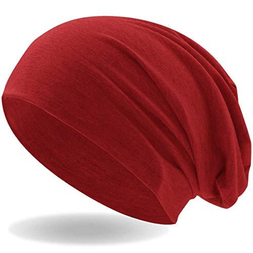 Hatstar Klassische Jersey Slouch Long Beanie Mütze, leicht und weich, für Damen und Herren (Rot)