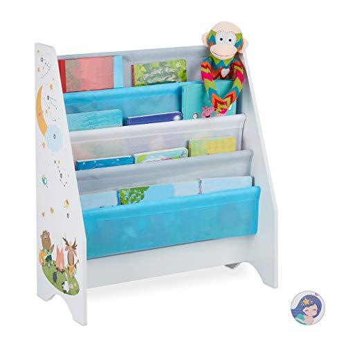 Relaxdays Kinder Bücherregal, 4 Hängefacher, Lagerfeuer Kindermotiv, Bücheraufbewahrung, HBT: 71x62x29 cm, mehrfarbig
