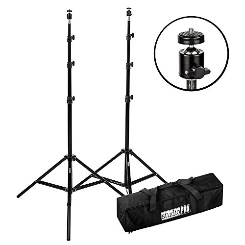 Fovitec 2x 7'6' Light Stand VR Compatible Kit with Ball Head Mount and Carry Bag