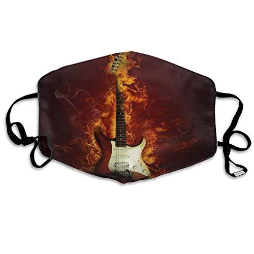 Olive Croft Gesichtsschutz Mundschutz E-Gitarre in Flammen brennendes Feuer Hardrock musikalische Kreativität Konzept