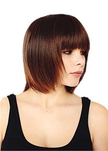 Prettyland Perruque Coupe Courte Frange Bob Raide Droite Chic Wig Naturel comme Vrai Cheveux - Châtain C479