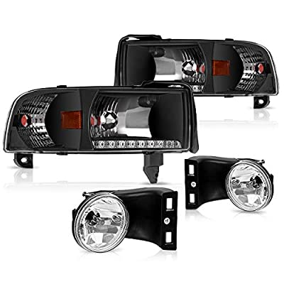 DWVO Headlight Assembly and Fog Light Combo Compatible with 94-01 Dodge Ram 1500/94-02 Dodge Ram 2500 3500, Black Housing Headlight Replacement, Clear Lens Fog Lamps w/Bulbs
