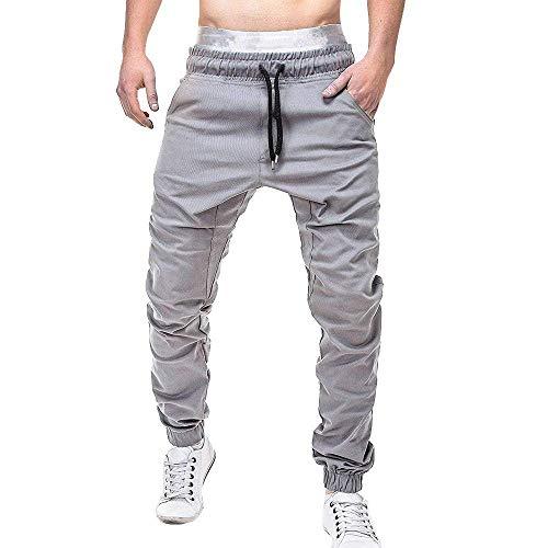 Lounayy Herren Hosen Jogginghose Hose Herren Jogginghose Basic Mode Hose Lässige Elastische Jogginghose Sport Solide Baggy Pockets Hose Sale Coole Sachen (Color : Grau)