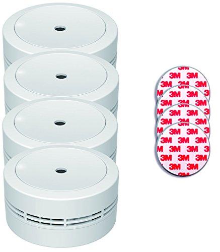 Jeising Mini Rauchmelder GS535 4er Set weiß mit Magnetklebebepad Magnetbefestigung 10 Jahres Lithium Batterie - VDs geprüft EN14604 Komfort Funktionsprüfung mit Stummschaltung