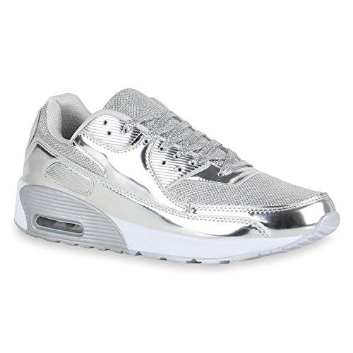 stiefelparadies Herren Sport Leder-Optik Sneakers Velours Glitzer Metallic Runners Freizeit Schnürer Schuhe 140422 Silber Brooklyn 36 Flandell
