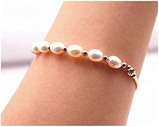 Wholesale Natural 5x6mm Pearls Bracelet,Beads Bracelet Supply,Jewelry Bracelet,Bracelet Wholesale.Gemstone Beads Chain Bracelet Rice Beads 6.5