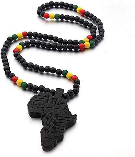 banbeitaotao Collar, Collar, Colgante de Mapa de África, Collar para Mujeres, Hombres, Colgante de Madera, Color, joyería etíope, mapas africanos