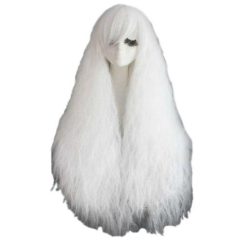 70CM Coiffure afro Perruques longue et duveteux Perruques de cosplay,blanc