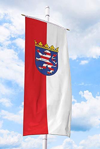 Deitert Bundesland-Flagge Hessen – 80x200 cm Hessen-Fahne mit Wappen, Bannerfahne aus reißfestem Polyester