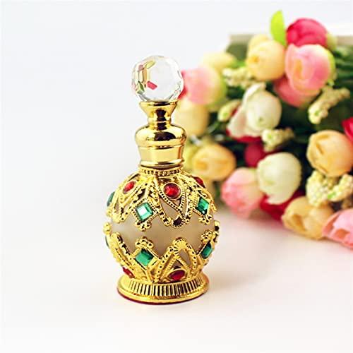 CHEN-C Botella de Spray 1 Pieza 15 ml Vintage Metal Botella de Perfume Estilo árabe Aceite Esencial Pegón de gotero Contenedor Regalo de decoración Dispensador de Perfume