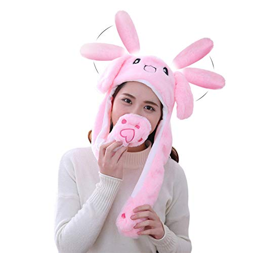 Fox Claw Rabbit Hat Ear Moving Jumping Hat Christmas Funny Plush Girl Hats Party Cosplay Holiday Hats Cute Hats for women Pink