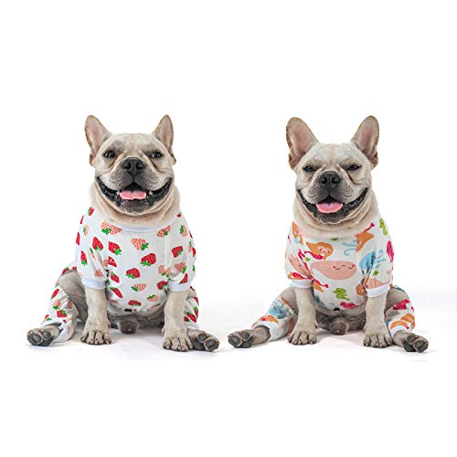 CuteBone Cotton Dog Pajamas Cute for Small Dogs Girl Clothes XL, Strawberry&Mermaid, 2 Pack, 2CP02XL