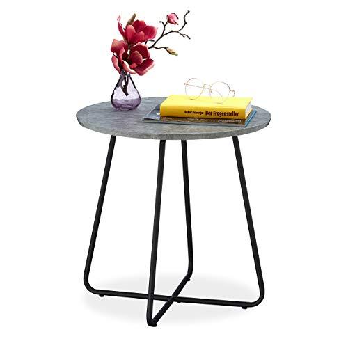 Relaxdays Beistelltisch Betonoptik, moderner Sofatisch, rund, Wohnzimmer, MDF & Metall, H x D: 46 x 45 cm, grau/schwarz