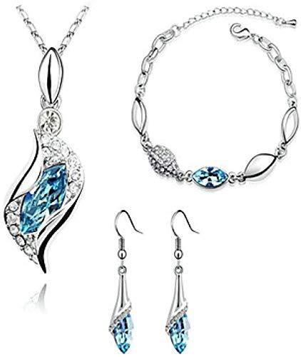 Saphirglas Citrin Schmuck Set Tropfen Ohrringe Anhänger Halskette Solitaire Marquise Cut Damen Basic Fashion Elegante Strass Imitation Diamond,B