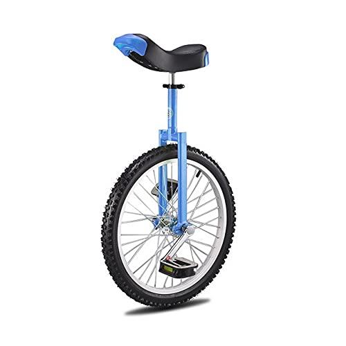 RYKJ-F 24-Zoll-Einräder Für Erwachsene, Höhenverstellbarer Sitz 24-Zoll-Reifen Rutschfester Big Wheel-Fahrradtrainer Radfahren Im Freien Fitness Fitness Bewegung,Blau