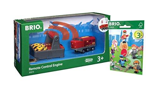 BRIO Eisenbahn Set - 33213 ferngesteuerte IR Frachtlok und 33829 1x Brio Figuren Pack Serie 1