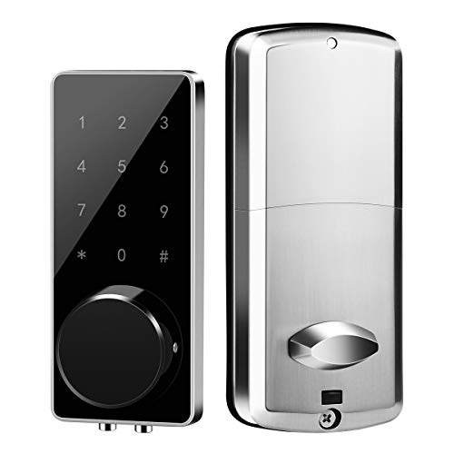 Electronic Deadbolt Smart Door Lock, Bellberry Smart Lock with LED Touch Screen Keypad and Bluetooth Enabled Keyless Access, Remotely Control with Smart Phone, Compatible with Alexa, Silver