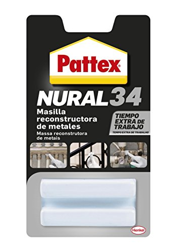 Pattex Nural 34, masilla reconstructora de metales, color gris, 50gr