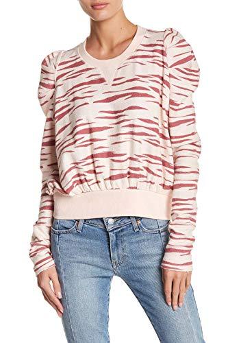 Free People Womens Zaza Zebra Print Crew Neck Sweatshirt Pink S