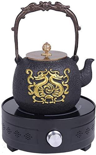 WQF Tetera + Estufa de cerámica eléctrica Juego de Olla de Hierro Fundido japonés SsangYong Juego de té de Tetera de Hierro 1.2L