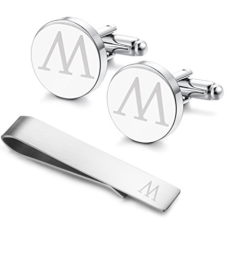 Classic Engraved Initial Cufflinks and Tie Clip Bar Set Alphabet Letter Formal Business Wedding Shirts M